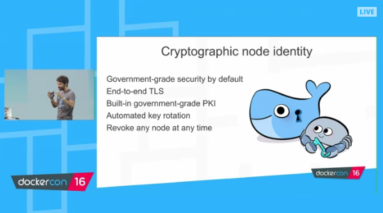 Docker 1.12 Orchestration - four features - cryptographic node identity