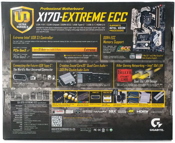 Gigabyte X170 Extreme ECC - Retail Box Back
