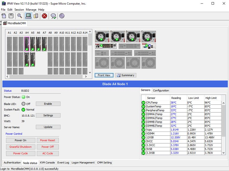 Supermicro 3U MicroBlade IPMIview Management - Dashboard
