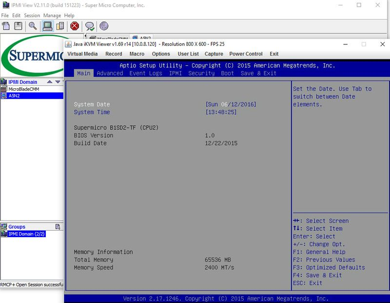 Supermicro 3U MicroBlade IPMIview Management - Node A5N2 iKVM