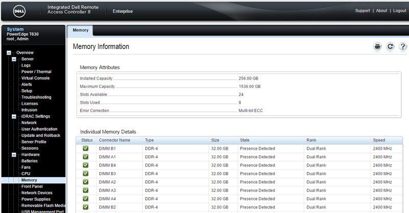 Dell iDRAC 8 - Hardware - Memory