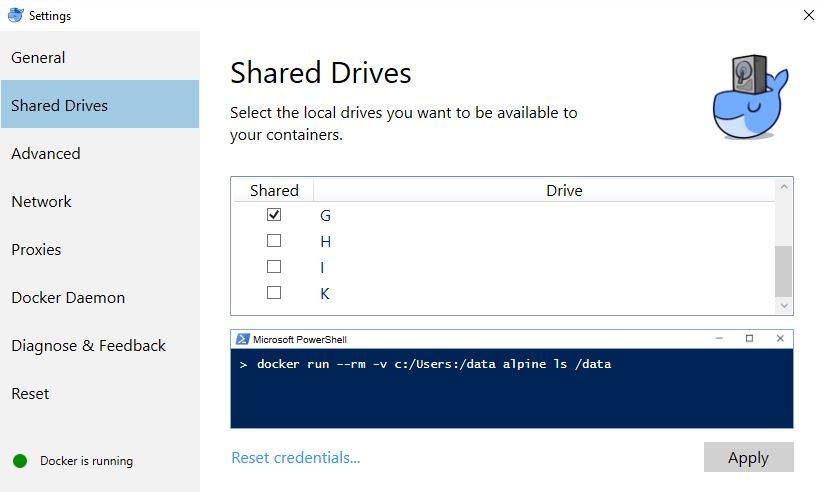 Docker for Windows shared drives