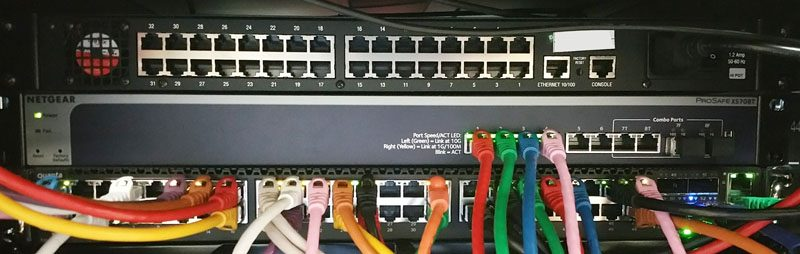 Netgear ProSAFE XS708T being setup in rack