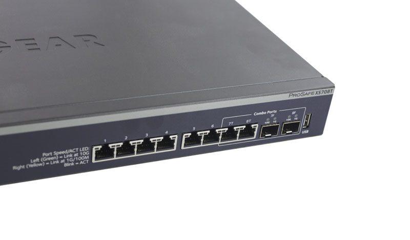 Netgear ProSAFE XS708T front combo ports