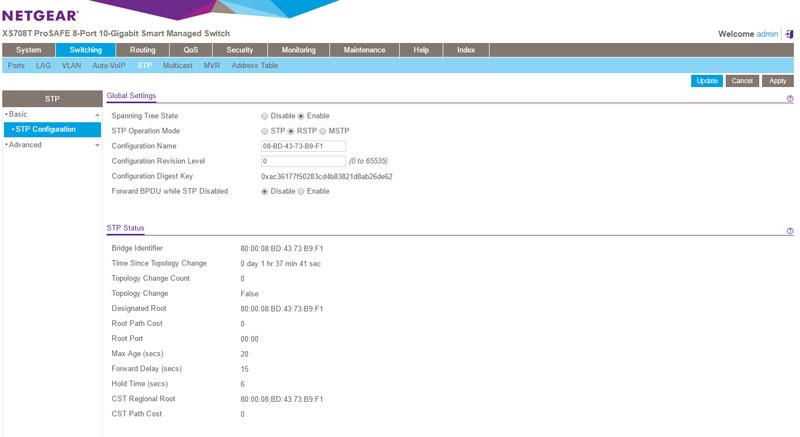 Netgear XS708T management interface STP - ServeTheHome