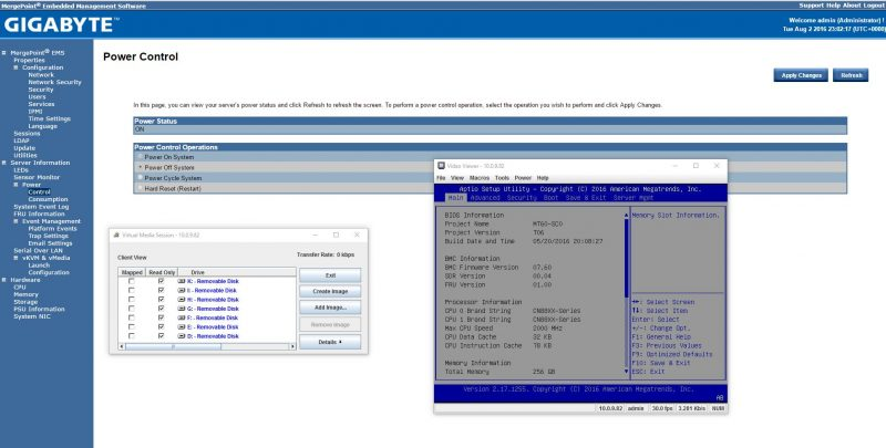 Gigabyte R270-T61 iKVM functionality with BIOS setup