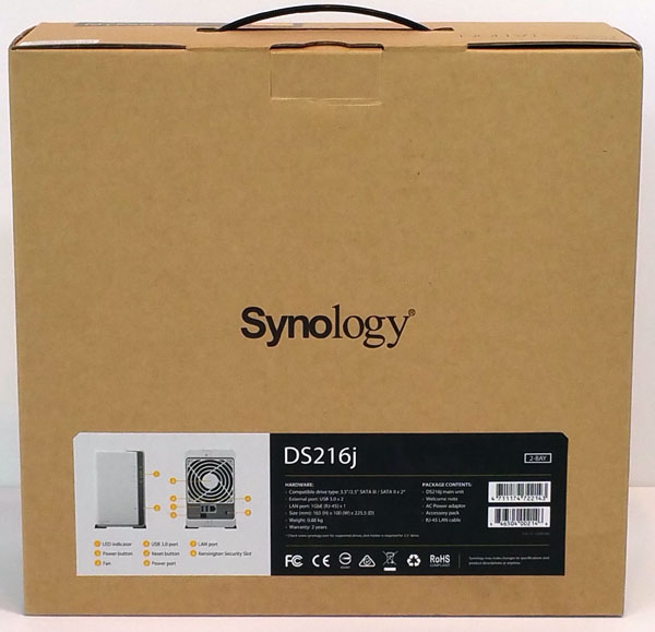 Synology DS216j - Retail Box Back