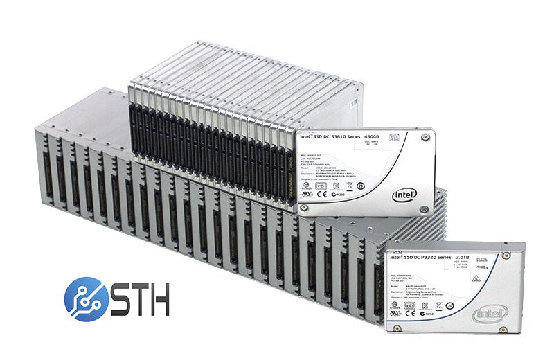 24x Intel DC P3320 NVMe Drives and DC S3610 SATA