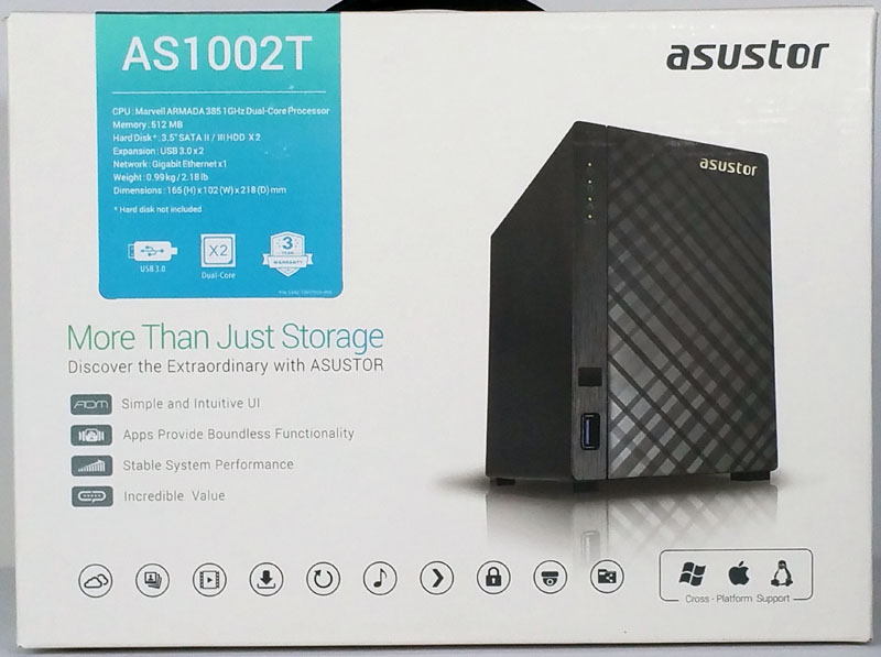 Asustor AS1002T box front