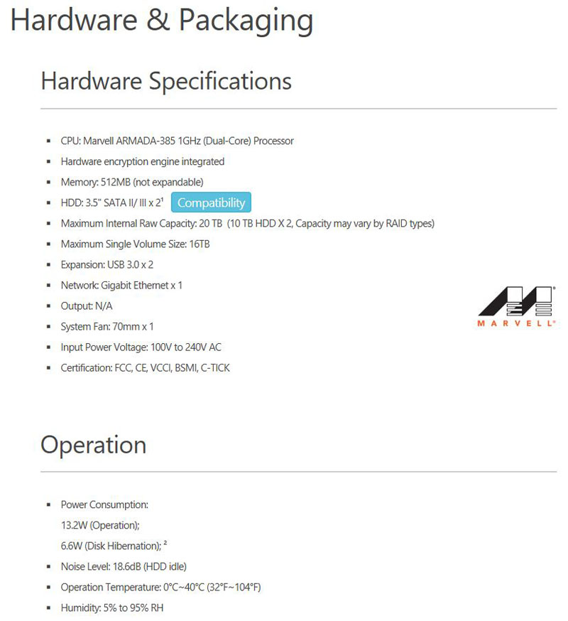 Asustor AS1002T Specifications