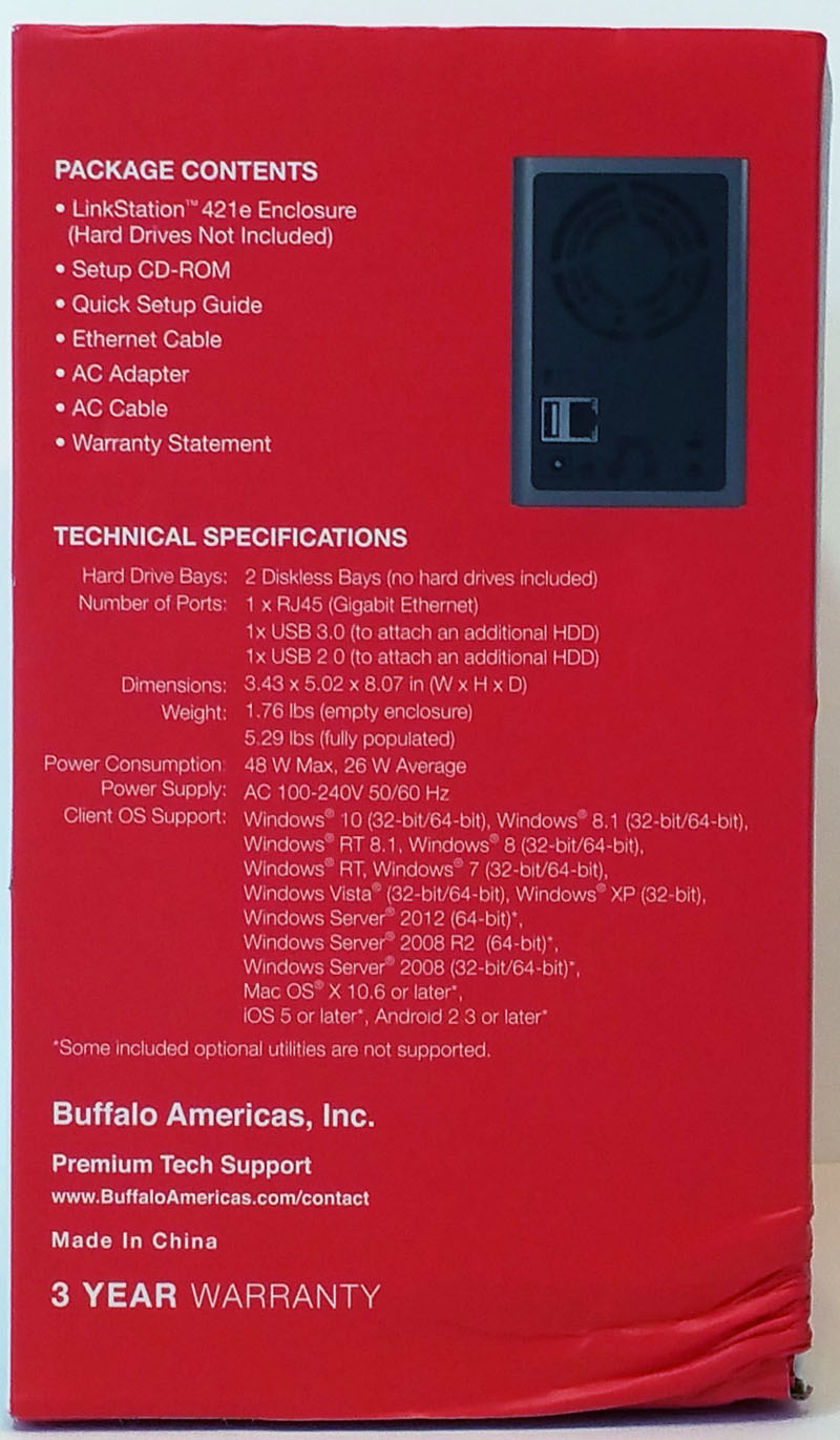 Buffalo LS421DE Retail Box Left Side