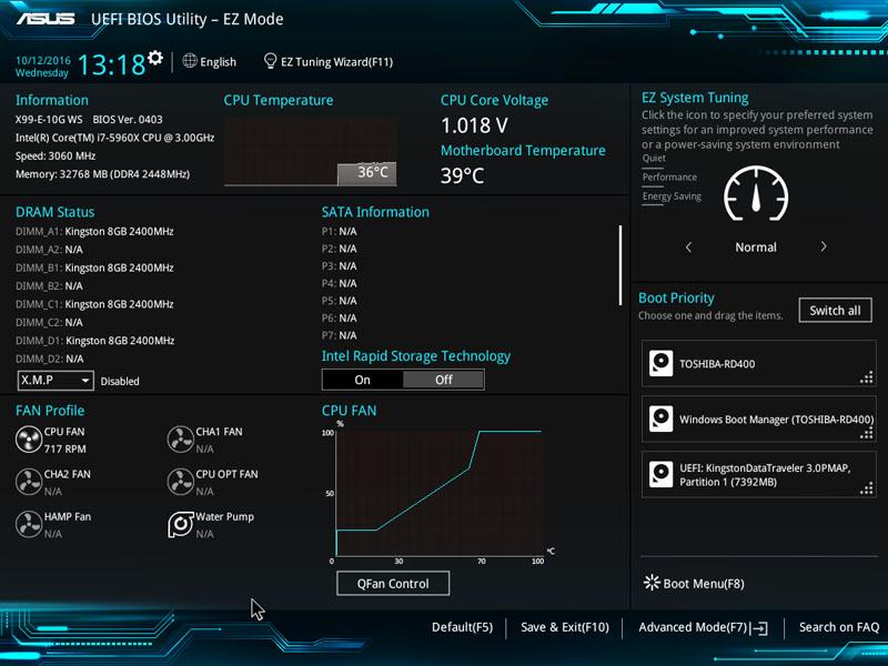 ASUS X99 E 10G WS Workstation BIOS EZ Mode