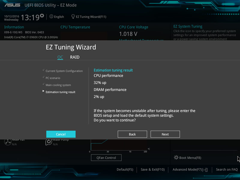 ASUS X99 E 10G WS Workstation BIOS EZ Tuning Wizard Results