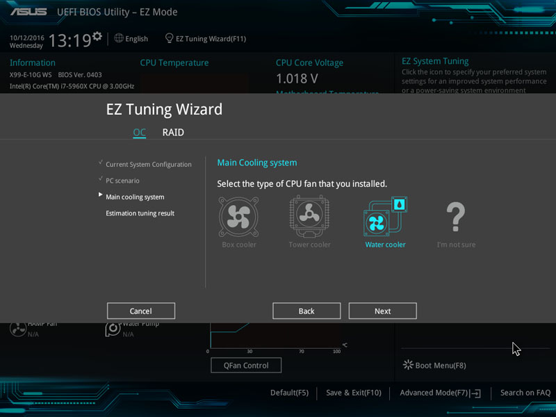 ASUS X99 E 10G WS Workstation BIOS EZ Tuning Wizard