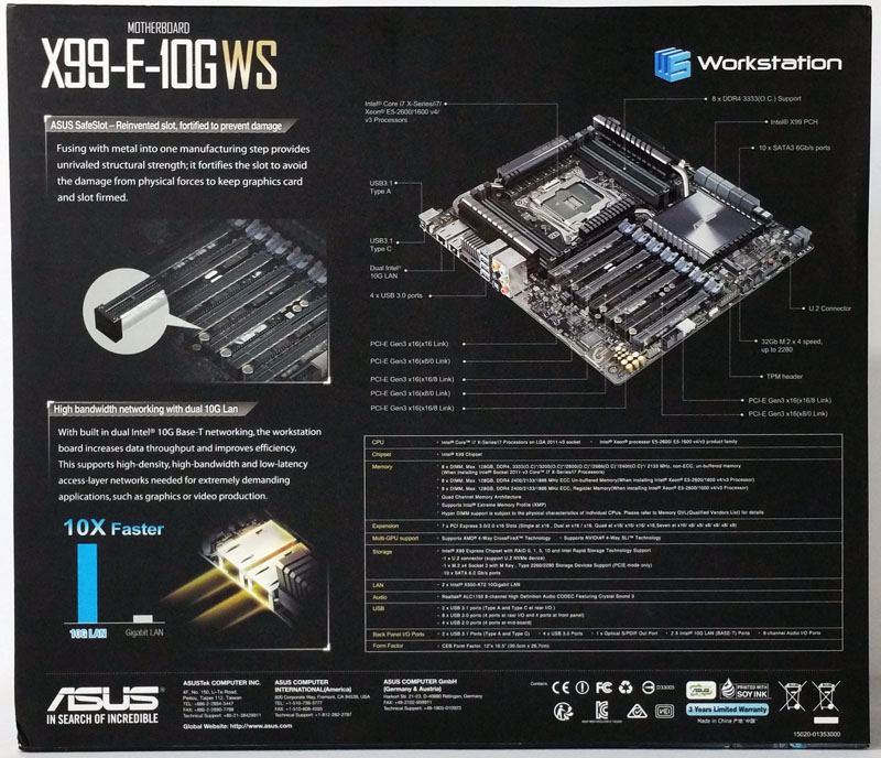 ASUS X99 E 10G WS Workstation Motherboard Retail Box Back