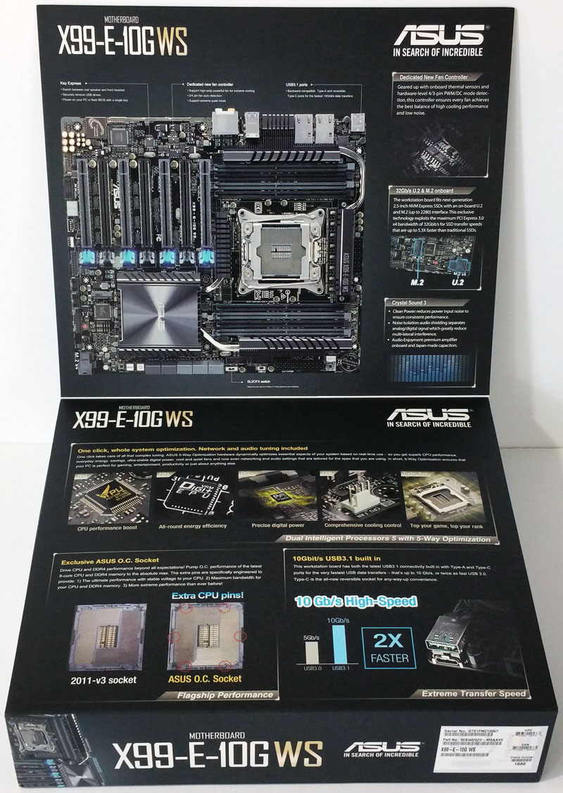 ASUS X99 E 10G WS Workstation Motherboard Retail Box Open