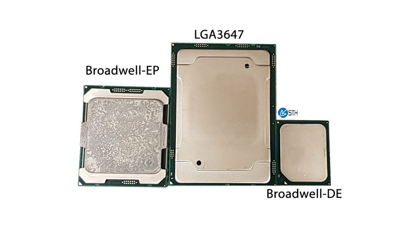 Broadwell EP LGA 2647 Broadwell DE Package Size Comparison