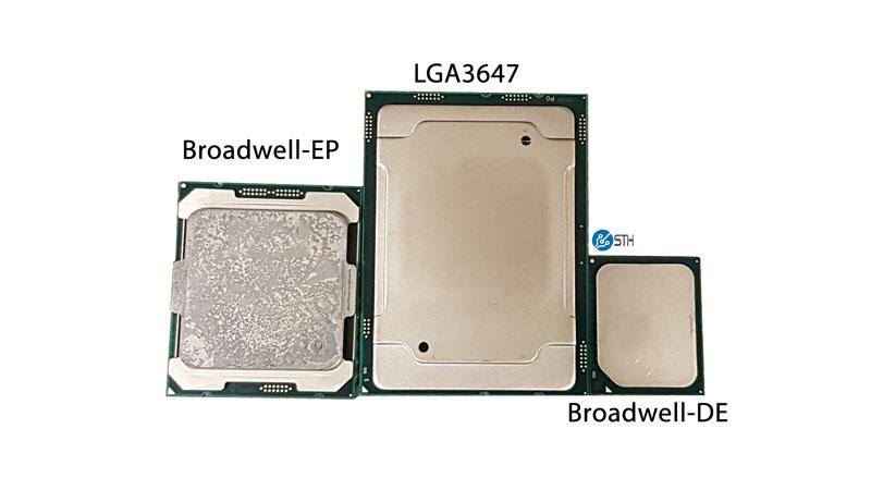 Broadwell EP LGA 2647 Broadwell DE Package Size Comparison