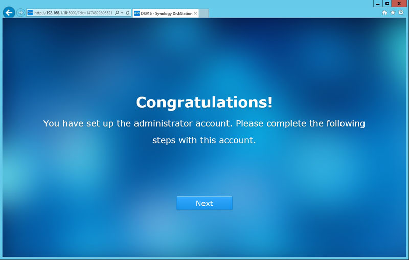 Synology DS916 Admin Account Finish