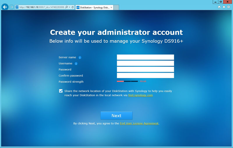 Synology DS916 Create Admin Account