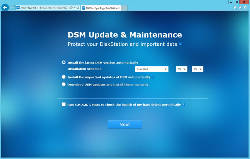 Synology DS916 DSM Update