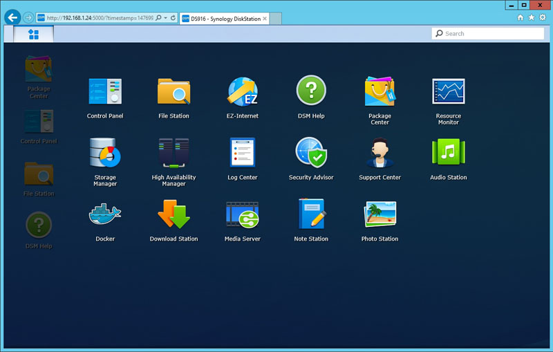 Synology DS916 Menu