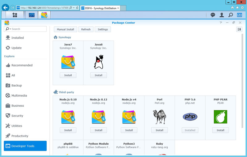 Synology DS916 Package Center Developer Tools