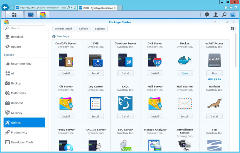 Synology DS916 Package Center Utilities