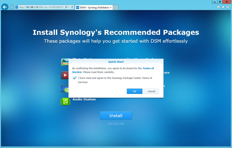 Synology DS916 Quick Start