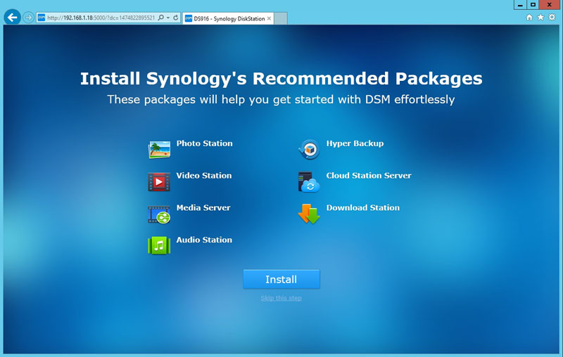 Synology DS916 Recommended Packages