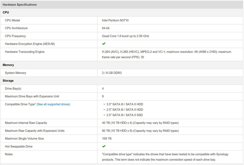 Synology DS916 Specifications
