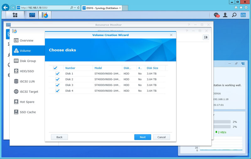 Synology DS916 Volume Choose Disks