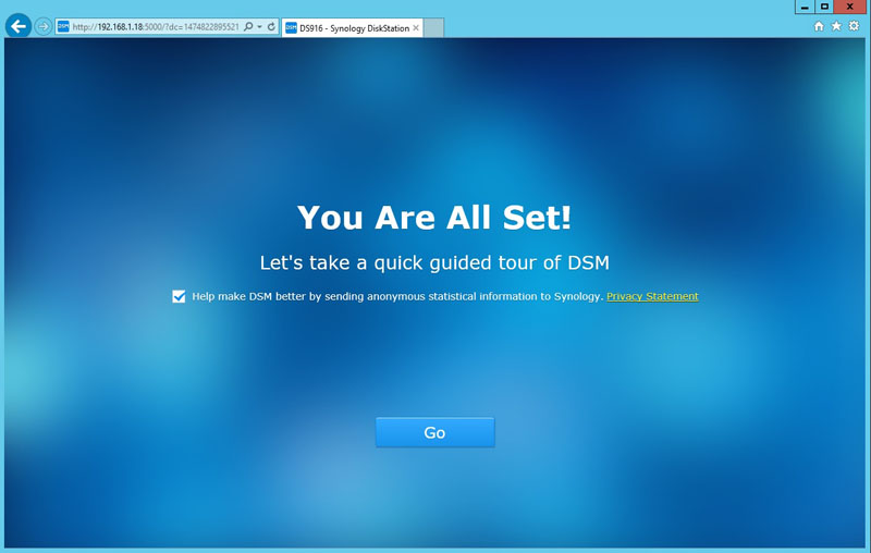 Synology DS916 You Are All Set
