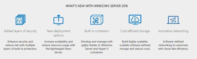 Windows Server 2016 Key New Features