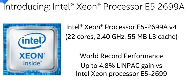 Intel Xeon E5 2699A V4 SC16