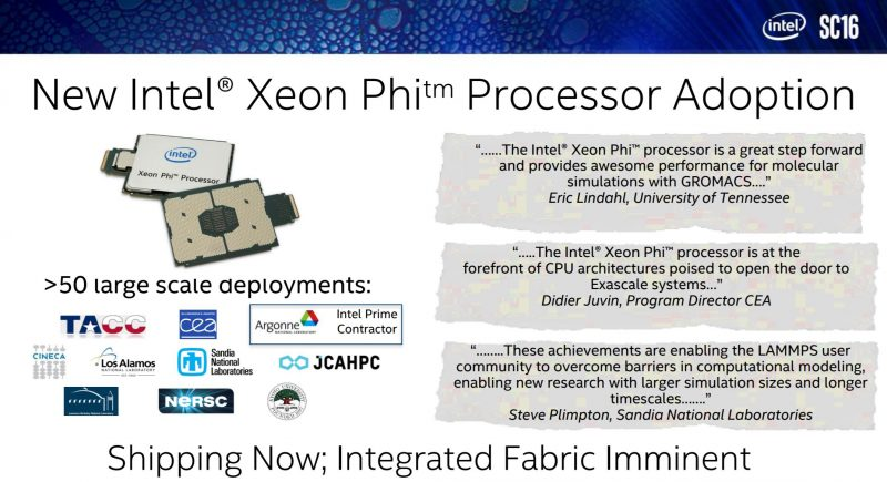 Intel Xeon Phi KNL Adoption SC16