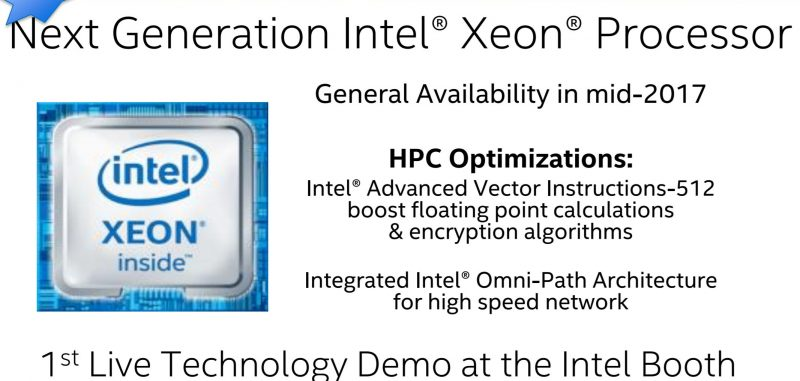 Intel Xeon Skylake EP Coming 2017 SC16
