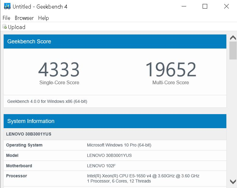 Lenovo ThinkStation P410 Geekbench 4 CPU