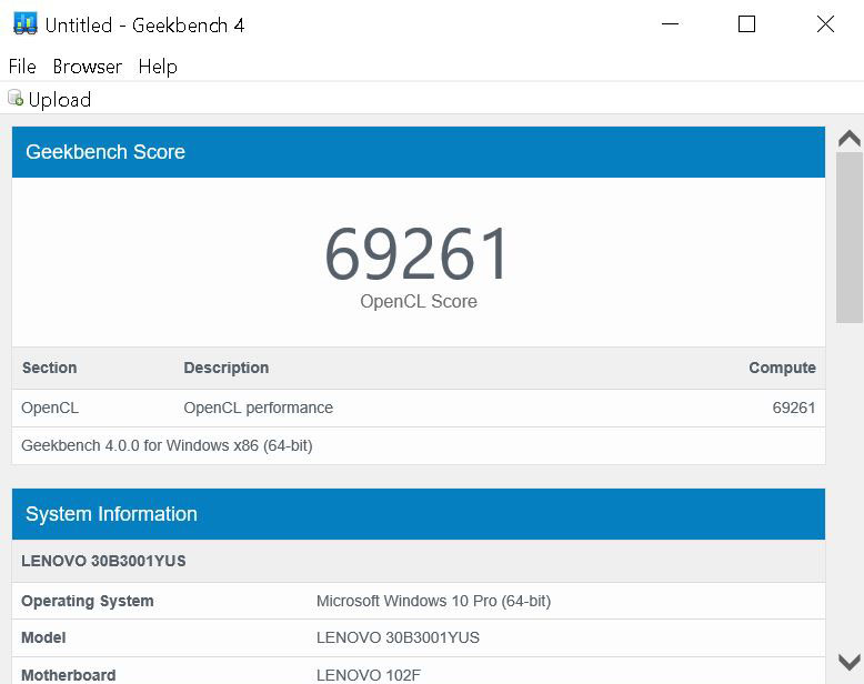 Lenovo ThinkStation P410 Geekbench 4 GPU