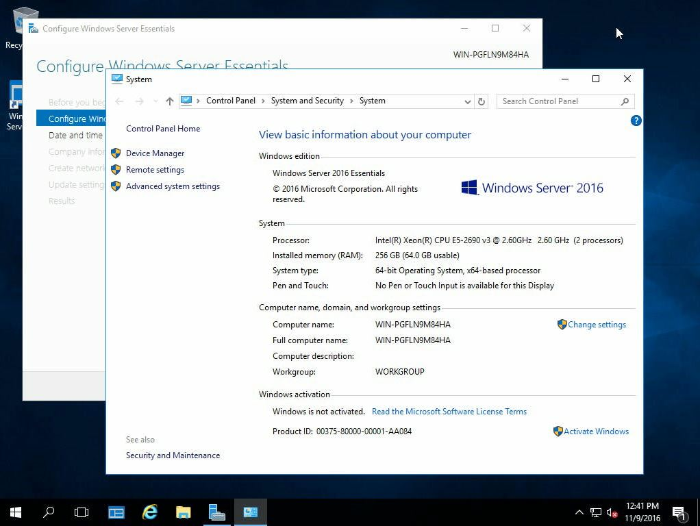 Windows Server 2016 Essentials: Memory Limit and Other