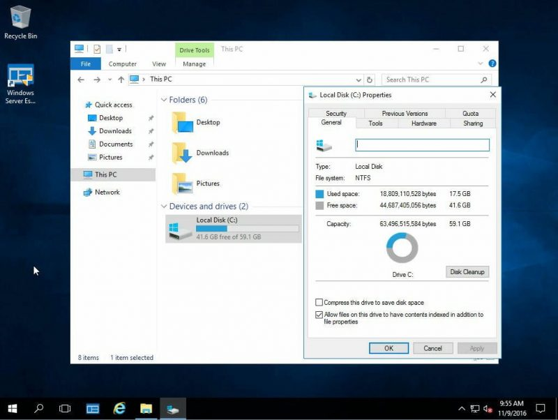 Windows Server 2016 Essentials Disk Usage
