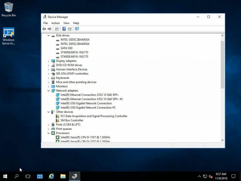 Windows Server 2016 Essentials Intel Xeon D NICs Working By Default