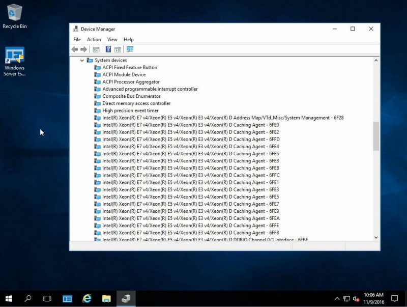 Windows Server 2016 Essentials Xeon D System Devices