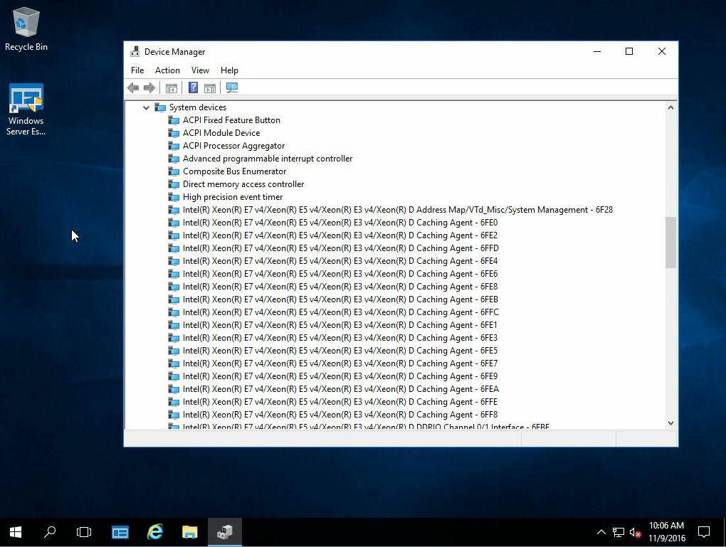 Windows Server 2016 Essentials Xeon D System Devices