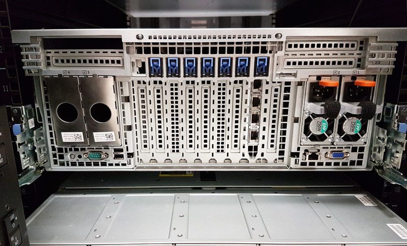 Dell Poweredge R930 Rear Before Cablin Servethehome