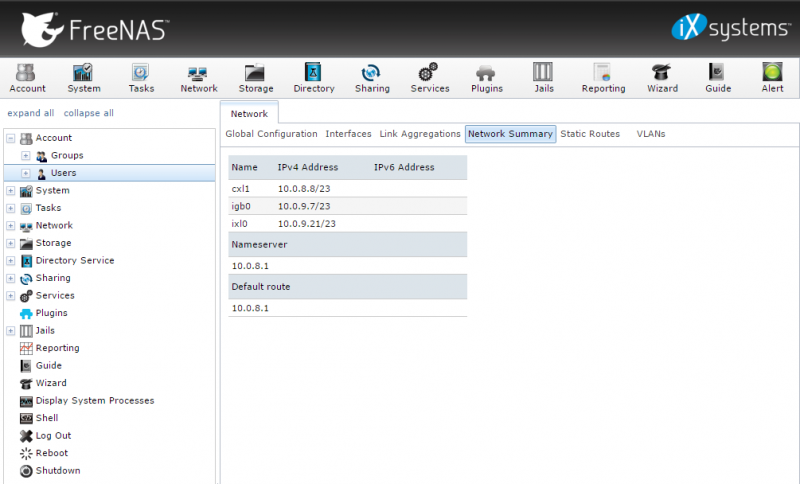 FreeNAS DemoARK Networking