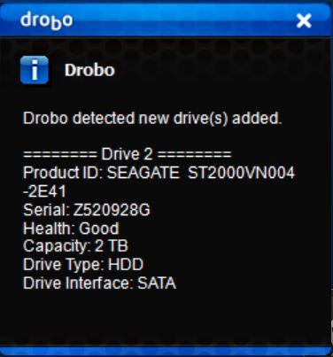 Drobo 5C New Drive Added