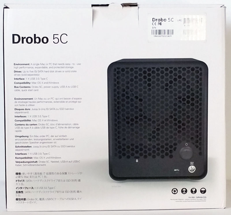 Drobo 5C Retail Box Back