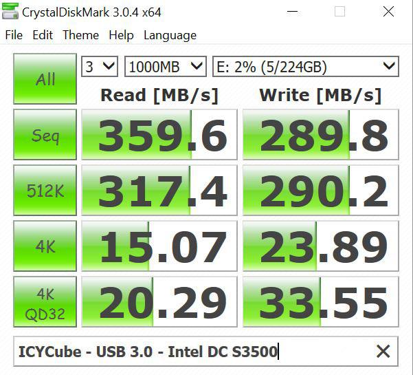 ICYCube USB 3.0 Intel DC S3500 SSD