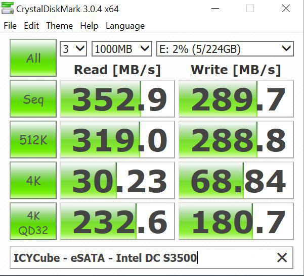 ICYCube ESATA Intel DC S3500 SSD